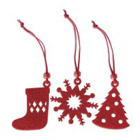 Pack of 12 Felt Christmas Tree Decorations